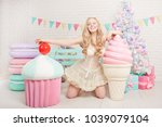 sweetheart plus size young girl ... | Shutterstock . vector #1039079104