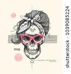 funny human skull with elegant... | Shutterstock .eps vector #1039085224