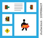 icon flat emergency set of exit ...   Shutterstock .eps vector #1039086619