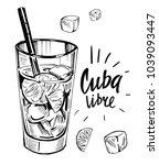 alcohol cocktail. whiskey  rum  ... | Shutterstock .eps vector #1039093447