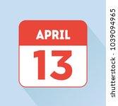april 13 calendar icon flat red.... | Shutterstock .eps vector #1039094965
