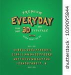 font everyday 3d. craft retro... | Shutterstock .eps vector #1039095844