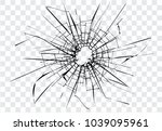 broken glass  cracks  bullet... | Shutterstock .eps vector #1039095961