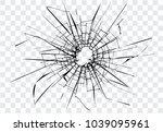 broken glass  cracks  bullet... | Shutterstock .eps vector #1039095961