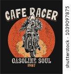 vector cafe racer skeleton... | Shutterstock .eps vector #1039097875