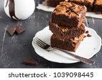 chocolate brownie cake piece... | Shutterstock . vector #1039098445