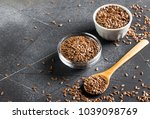 flax seeds linseed superfood... | Shutterstock . vector #1039098769