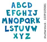 blue letter alphabet cutout... | Shutterstock .eps vector #1039105081