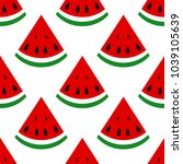 seamless background  watermelon ... | Shutterstock . vector #1039105639