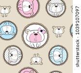 Stock vector seamless teddy bear patter vector illustration 1039107097
