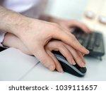 sexual harassment at work. man... | Shutterstock . vector #1039111657