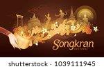 Songkran Festival in Thailand Vector, Thai traditional, Thai Water Splash with Landmark in Thailand and Jasmine Flowers, White frangipani tropical flower, plumeria flower blooming | Shutterstock vector #1039111945