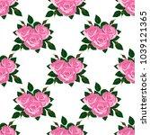seamless wallpaper pink roses...   Shutterstock . vector #1039121365