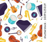 jazz music seamless pattern... | Shutterstock .eps vector #1039125319