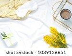 breakfast in bed white flat lay ... | Shutterstock . vector #1039126651