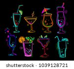 neon colors on a black... | Shutterstock .eps vector #1039128721