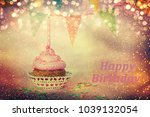 cupcake background. birthday | Shutterstock . vector #1039132054