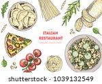 italian cuisine top view frame. ... | Shutterstock .eps vector #1039132549