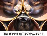 inside of metallic gas tubes ... | Shutterstock . vector #1039135174