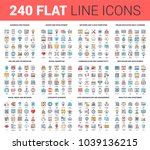 vector set of 240 64x64 pixel... | Shutterstock .eps vector #1039136215
