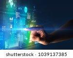 female finger touching a beam... | Shutterstock . vector #1039137385