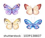 Stock vector vector illustration of watercolor butterflies isolated on white background 1039138837