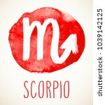 scorpio hand drawn zodiac sign... | Shutterstock .eps vector #1039142125