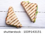 club sandwich with tomatoes  ... | Shutterstock . vector #1039143151