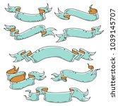 vintage ribbon  hand drawn... | Shutterstock .eps vector #1039145707
