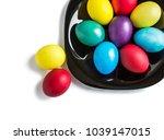 colored easter eggs on the... | Shutterstock . vector #1039147015