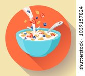 vector breakfast cereal in bowl ... | Shutterstock .eps vector #1039157824