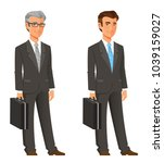 cartoon businessman in grey suit | Shutterstock .eps vector #1039159027
