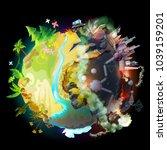 vector illustration of green... | Shutterstock .eps vector #1039159201