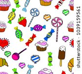 candy doodle. seamless pattern... | Shutterstock . vector #1039159561