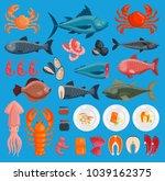vector sea food cuisine fresh...   Shutterstock .eps vector #1039162375