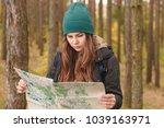 woman with travel map and... | Shutterstock . vector #1039163971