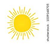 hand drawn cute shinny sun.... | Shutterstock .eps vector #1039168705