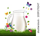 jug with milk and grass and...   Shutterstock .eps vector #1039170247