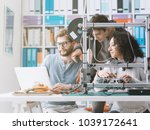 group of engineering students... | Shutterstock . vector #1039172641