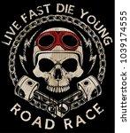 motorcycle racing typography... | Shutterstock .eps vector #1039174555