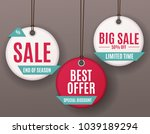 3d price sale label tags set. ... | Shutterstock . vector #1039189294