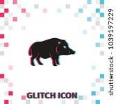 wild boar silhouette  glitch... | Shutterstock .eps vector #1039197229