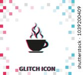 coffee cup  glitch effect... | Shutterstock .eps vector #1039200409
