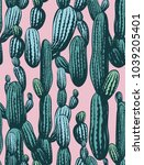 seamless cactus pattern ... | Shutterstock .eps vector #1039205401
