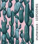 seamless cactus pattern ... | Shutterstock .eps vector #1039205401