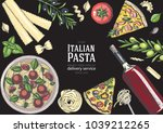 italian cuisine top view frame. ...   Shutterstock .eps vector #1039212265