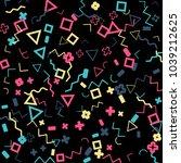 memphis background.  vintage... | Shutterstock .eps vector #1039212625