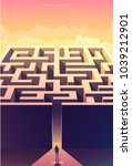 surreal vector poster.... | Shutterstock .eps vector #1039212901