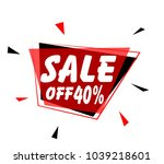 sale off 40   sign with red... | Shutterstock .eps vector #1039218601