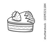 piece of cake. food icon. black ... | Shutterstock .eps vector #1039221184